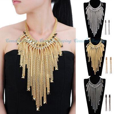 Fashion Jewelry Set Gold Silver Chains Fringe Choker Statement Pendant Earrings
