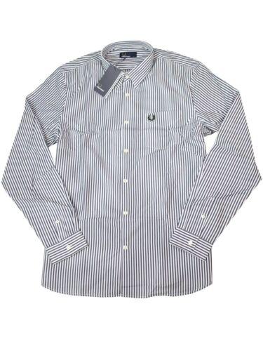 Fred Perry Button Down Langarmhemd M4531 G22 Stripe Twill Shirt Navy Weiß  7456