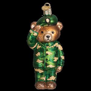 Old World Christmas ARMY BEAR (12402)N Patriotic Glass Ornament w/Owc Box
