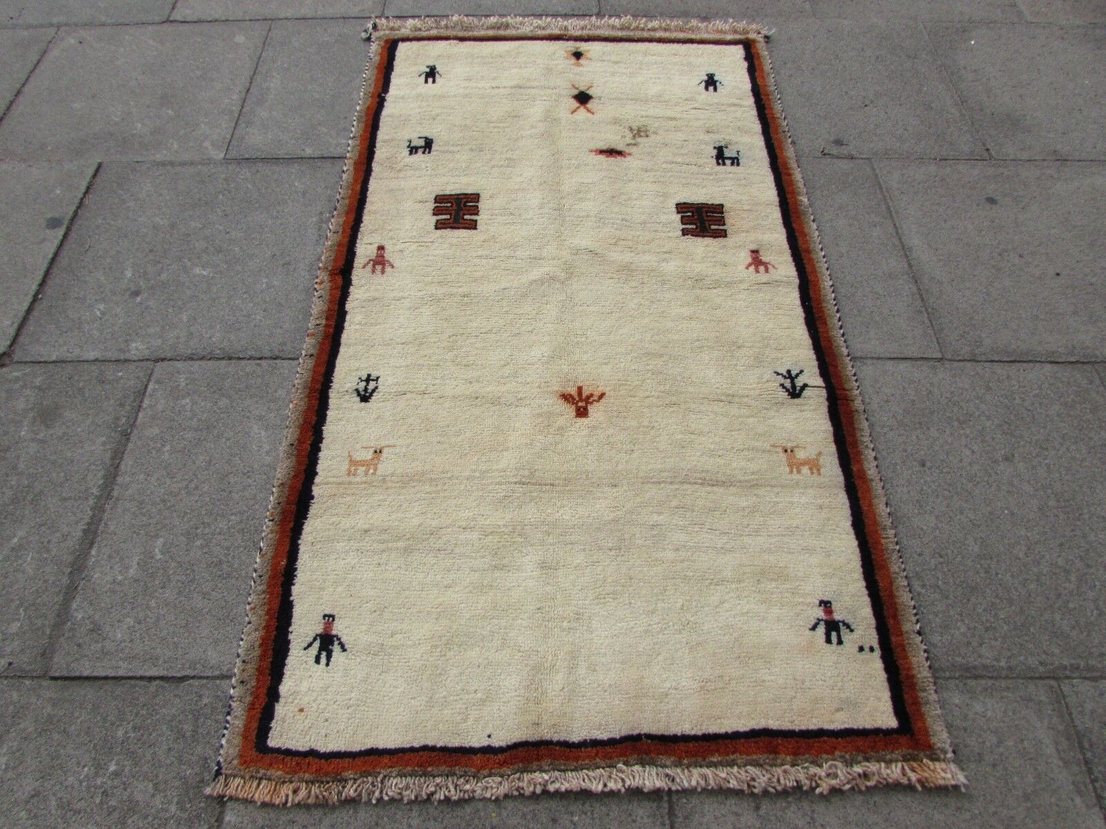 Traditional Tribal Hand Hand Hand Made Persian Gabbeh Oriental Cream Wool Rug 180x104cm 1545ef