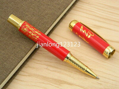 red Porcelain Red Painting Fu Character Ceramic Rollerball Pen