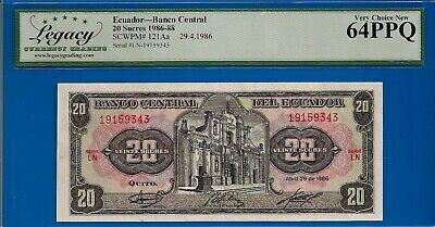 Ecuador 20 Sucres 1986  P-121Aa Banknotes UNC