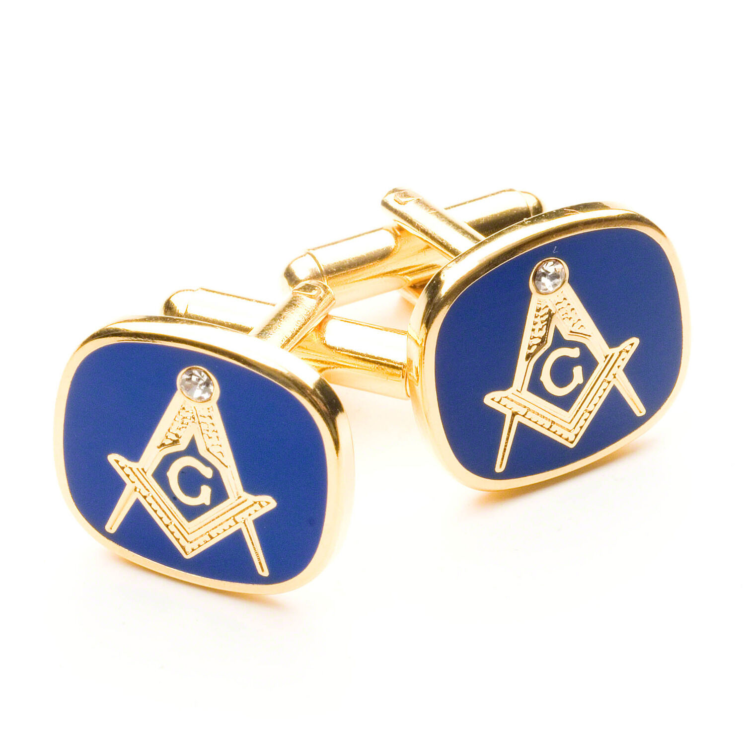 Stunning Blue Gold Masonic G Cufflinks With A White Stone Set In