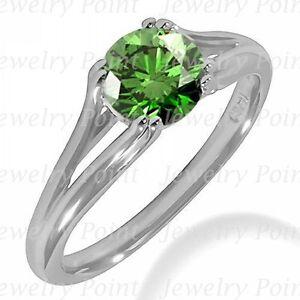 1-05ct-VS1-Green-Diamond-Engagement-Solitaire-Bridal-Ring-14k-White-Gold-Split