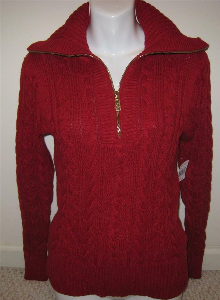 NEW RALPH LAUREN  Womens Sweater XS S NWT Red Cotton
