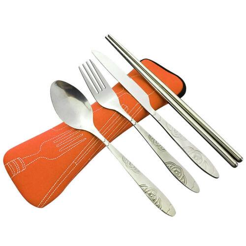 4Pcs Acier inox Set de Couverts Fourchette Cuillère Baguettes Voyage Portable Tableware