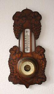 Jugendstil-Barometer-mit-Glas-Thermometer-in-Linde-auf-Nussbaum-gebeizt-um-1900