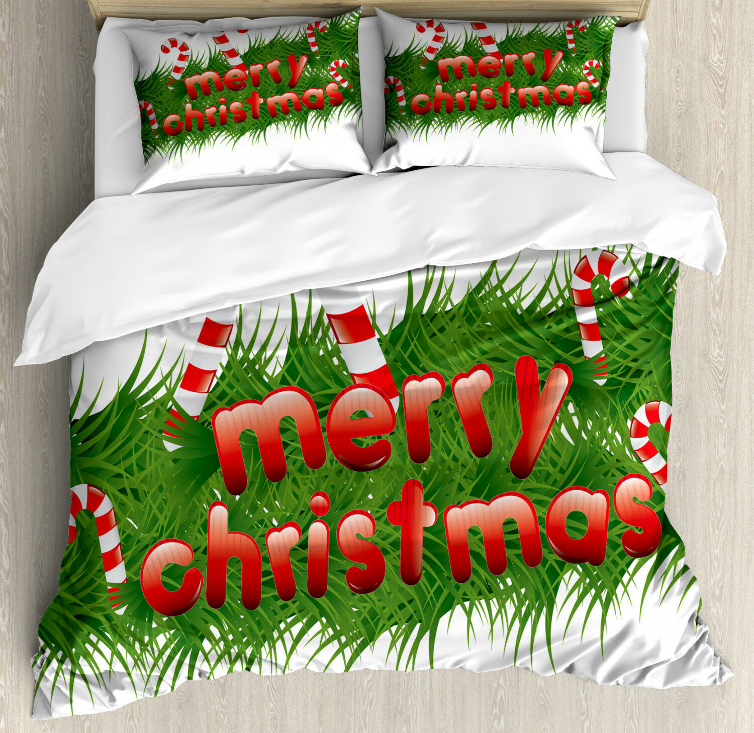 Christmas Duvet Cover Set with Pillow Shams Candy Canes Garland Print