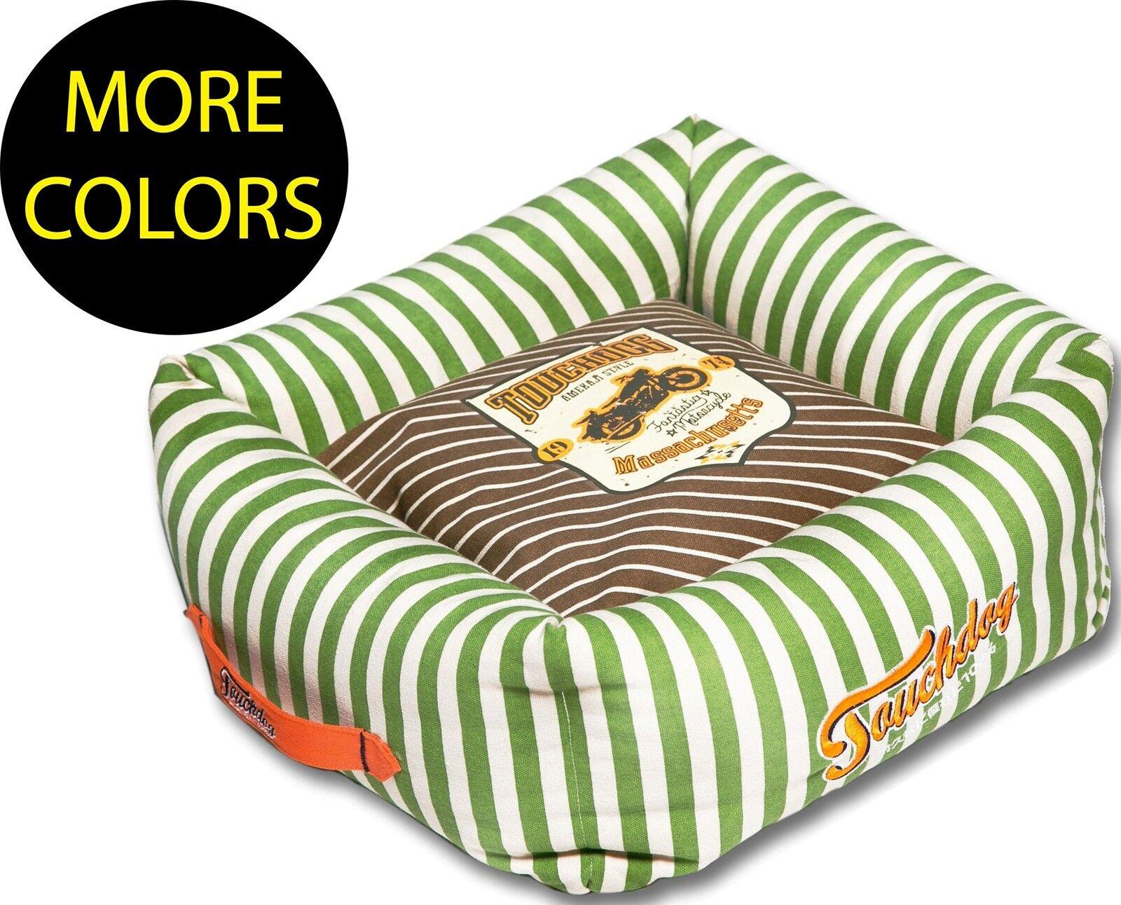 Neutral-Striped Ultra-Plush Easy Wash Squared Designer Fashion Pet Dog Bed Beds