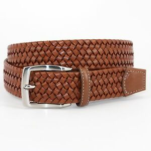 Torino Men  s Italian Woven Stretch Leather Belt - Cognac  (tan ) 54057 13a4b5cae65b