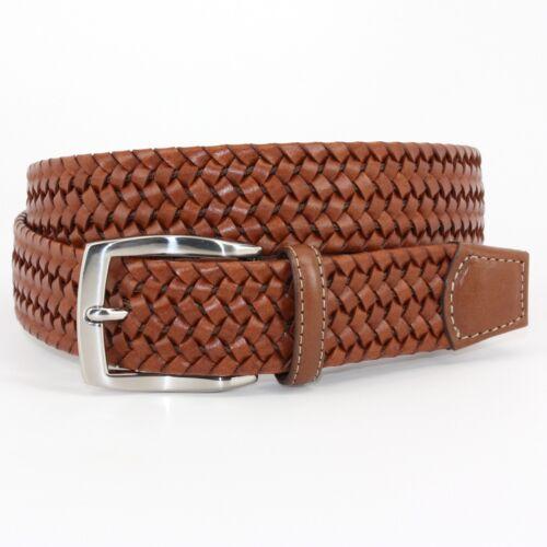 tan Cognac 54057 Torino Men/'s Italian Woven Stretch Leather Belt