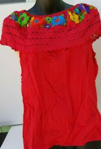 MEXICAN-HAND-EMBROIDERED-PEASANT-BLOUSE-WITH-LACE-NEW-ITEM-SHIPSFREE