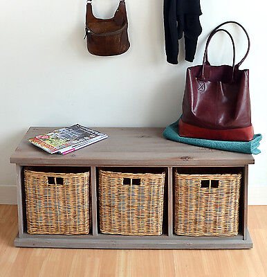 Acacia Hallway Bench with wicker baskets,QUALITY Assembled Large storage bench