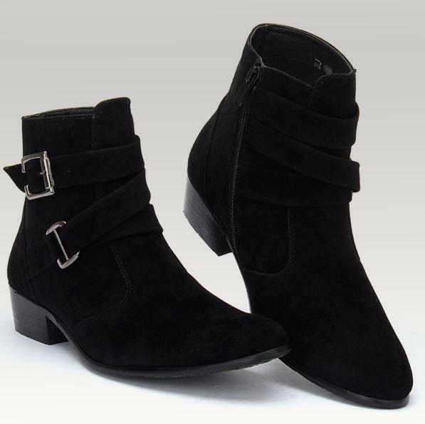 Fashion Mens Casual Ankle Boots Chukka Boots Zipper Buckle Strap Dress Shoes