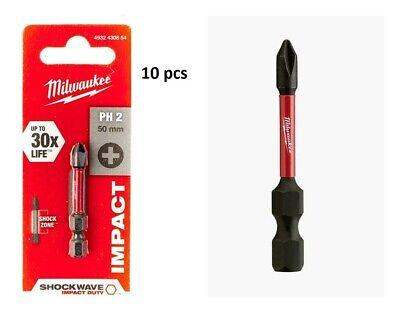 Milwaukee 4932430855 Shockwave Impact Duty Screwdriver Bits PH2 50mm Pack of 10