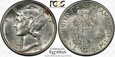 "1945-p 10C 99% FSB Mercury Dime PCGS AU58 Virtual Full split Bands! Pop ""1"""
