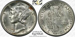 1945-P-10C-PCGS-AU58-Mercury-Dime-Virtual-FB-26-Top-Pop-RicksCafeAmerican-com