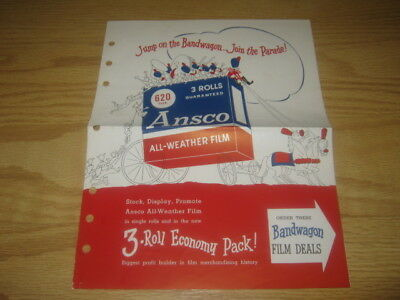 1950's Collectibles Ansco All Weather Film Bandwagon Ad Paper Clear And Distinctive