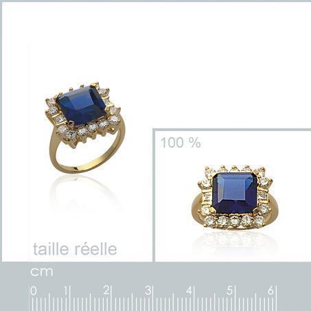 Bague T56 Carré 15mm Sertie Saphir et Diamant Cz Plaqué Or 18K de Dolly-Bijoux