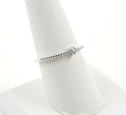Sterling Silver .20 ct Pear Cut Cubic Zirconia Textured Stackable Ring