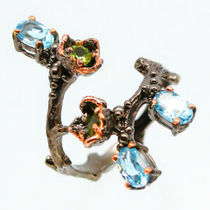 Daily-Use-Natural-Blue-Topaz-925-Sterling-Silver-Ring-RVS121-Naturlicher-blaue