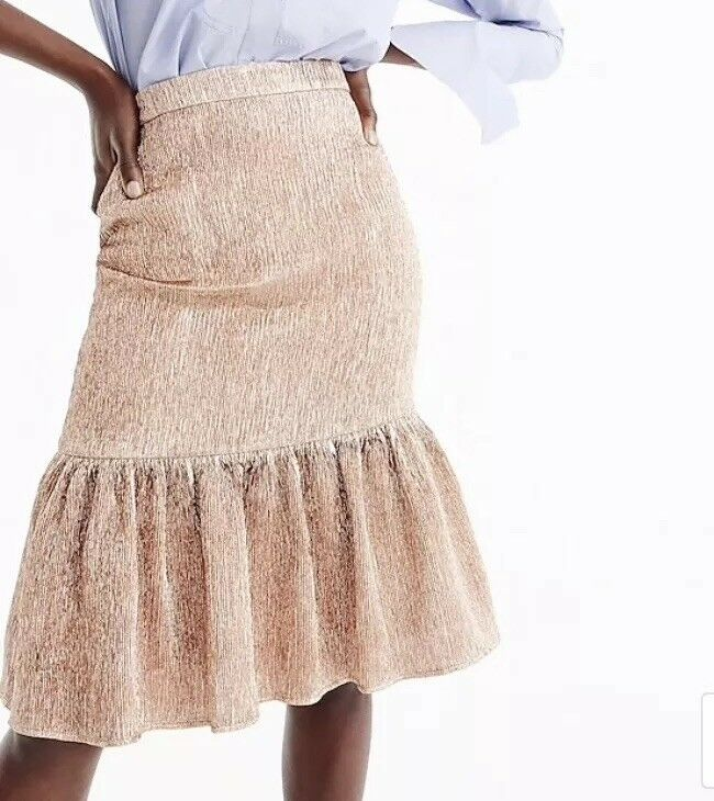 NWT J.Crew Fluted pink gold Collection Skirt Peplum Knee Length 12
