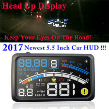 "2017 Newest 4E 5.5"" Car HUD Head Up Display OBD2 II Overspeed Warning Projector"