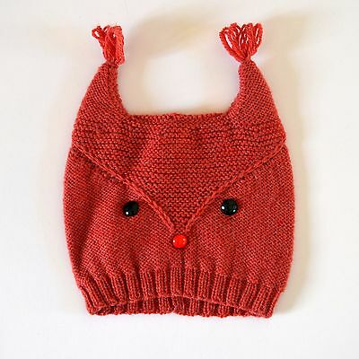 Hand Knitted Squirrel Hat (for child 3-4 year size)
