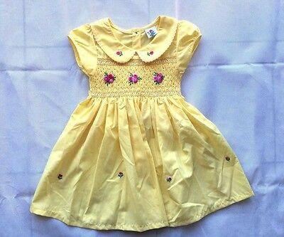 Girl/'s Hand-Made Embroidery Peter Pan Collar Short Sleeve Yellow Dress