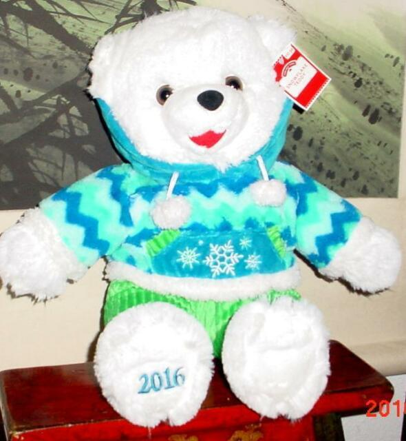 2016 walmart christmas snowflake teddy bear white boy 20 bluegreen outfit