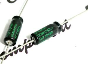 50uF 50 uF 50V Vintage Axial Electrolytic Capacitor Sprague 500D506G050 5 pcs