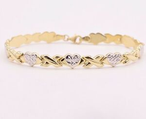 7-25-034-Diamond-Cut-Hearts-and-Kisses-Stampato-Bracelet-Real-10K-Yellow-White-Gold