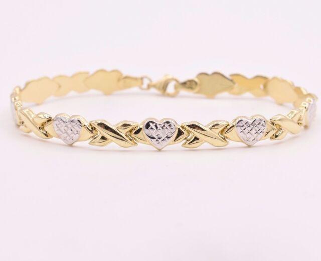 10k Yellow Gold Diamond Cut XO Hearts /& Kisses Bracelet 7.25 8