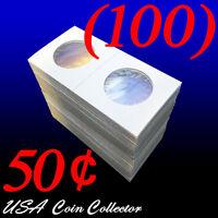 (100) Half Dollar Size 2x2 Mylar Cardboard Coin Flips For Storage   50 Cents