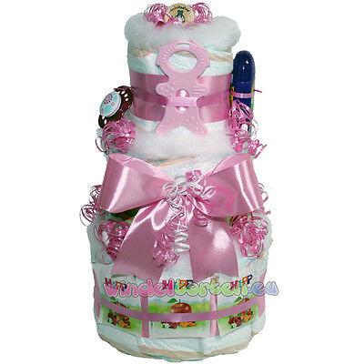 """★ XXL Windeltorte """"Girl"""" ★ ein niedliches Geschenk zur Taufe Geburt Babyparty"""