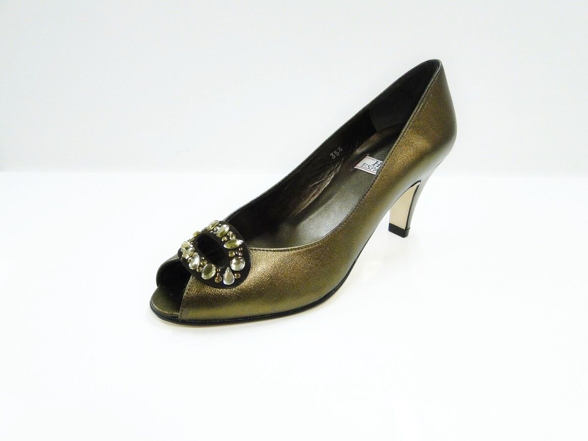 HB Espana Adele Womens Bronze Leather Peep Toe Heel Court shoes by HB shoes