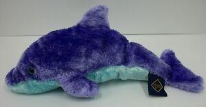 1994-The-Petting-Zoo-Purple-amp-Aqua-Stuffed-Plush-Dolphin-Toy-Animal-11-034