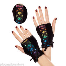 Punk Black Sparkly Rainbow Sequin Wrist Length Corset Lace Up Fingerless Gloves
