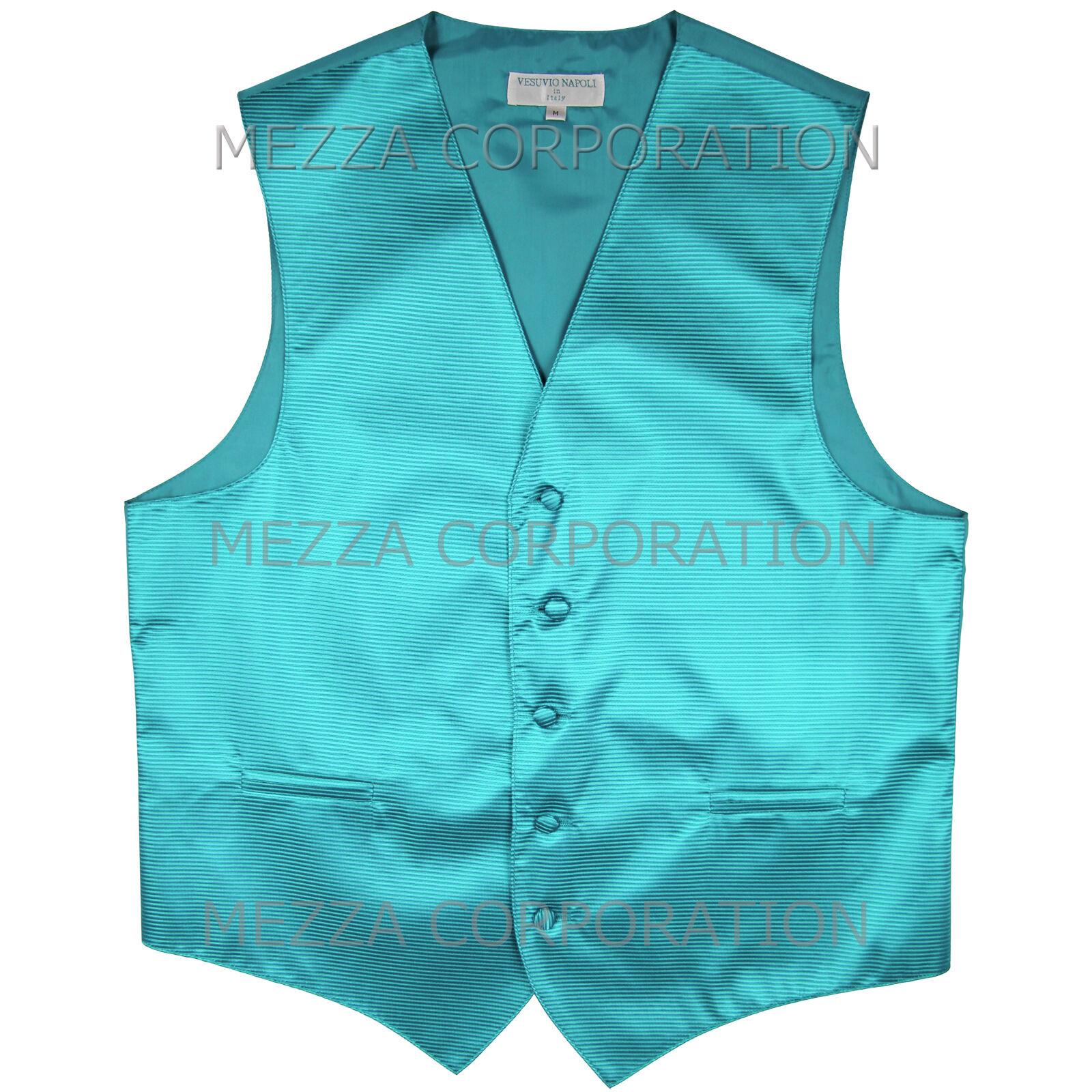 New Men's Tuxedo Vest Waistcoat Horizontal Stripes only prom party Turquoise