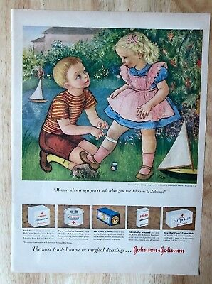 Merchandise & Memorabilia Adroit Original Print Ad 1950 Johnson & Johnson Bandages Vintage Artwork Grd Art Suitable For Men And Women Of All Ages In All Seasons