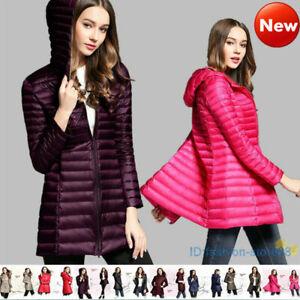 Women-039-s-Ultra-light-Duck-Down-Long-Jacket-Coat-Slim-Fit-Hooded-Warm-Outerwear