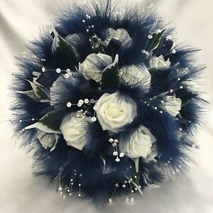 Brides Posy Bouquet Ivory Navy Blue Roses Marabou Feathers