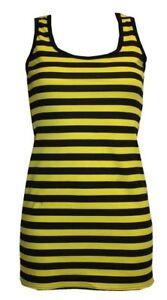 LADIES-BUMBLE-BEE-STRIPE-LONG-VEST-TOP-SUMMER-DRESS-FANCY-COSTUME-HALLOWEEN