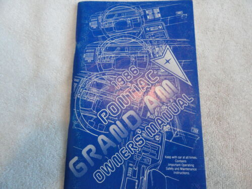 1986 Pontiac Grand Am Owners Manual 86