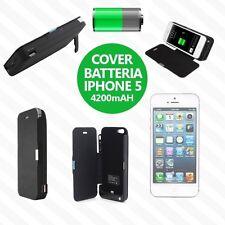 BATTERIA ESTERNA IPHONE 5 5S 5C 4200 MAH FLIP COVER RICARICA POWERBANK  LED USB