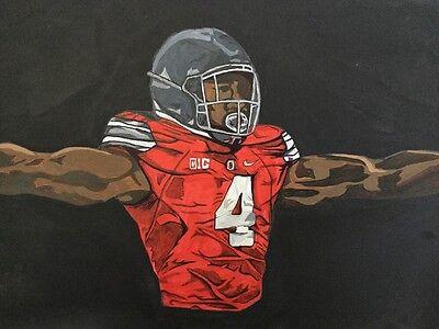 Curtis Samuel Ohio State Painting signed Carolina Panthers