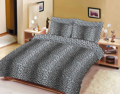 Leopard Duvet Cover Set Single Double Super King Size With Fitted Sheet Curtains