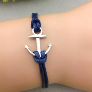 nouveau concept ce68f 28dea Détails sur Bracelet Ancre Marine Argent Bleu mixte homme femme 2018 Marque  encre cordon