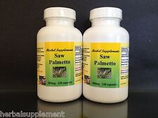 Saw palmetto 500mg ~ 240 (2x120) capsules, prostate, urinary flow. Made in USA.