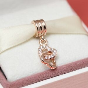 a3ae13134a1d8 Details about Authentic Pandora Rose Gold Interlocking Hearts 781242CZ Mom  Mothers Day *SALE*